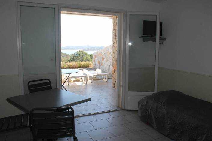Location studio Porto-Vecchio Vue mer séjour